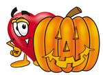 Clip Art Graphic of a Red Love Heart Cartoon Character With a Carved Halloween Pumpkin