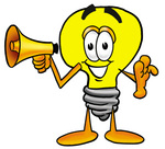 Clip Art Graphic of a Yellow Electric Lightbulb Cartoon Character Holding a Megaphone