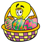 Clip Art Graphic of a Yellow Electric Lightbulb Cartoon Character in an Easter Basket Full of Decorated Easter Eggs