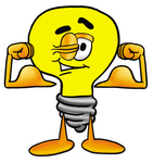 Clip Art Graphic of a Yellow Electric Lightbulb Cartoon Character Flexing His Arm Muscles