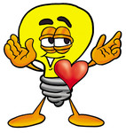 Clip Art Graphic of a Yellow Electric Lightbulb Cartoon Character With His Heart Beating Out of His Chest