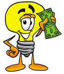 Clip Art Graphic of a Yellow Electric Lightbulb Cartoon Character Holding a Dollar Bill