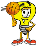 Clip Art Graphic of a Yellow Electric Lightbulb Cartoon Character Spinning a Basketball on His Finger