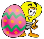 Clip Art Graphic of a Yellow Electric Lightbulb Cartoon Character Standing Beside an Easter Egg