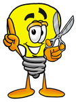 Clip Art Graphic of a Yellow Electric Lightbulb Cartoon Character Holding a Pair of Scissors