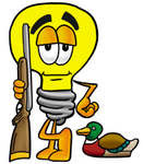 Clip Art Graphic of a Yellow Electric Lightbulb Cartoon Character Duck Hunting, Standing With a Rifle and Duck