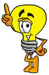 Clip Art Graphic of a Yellow Electric Lightbulb Cartoon Character Pointing Upwards