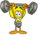 Clip Art Graphic of a Yellow Electric Lightbulb Cartoon Character Holding a Heavy Barbell Above His Head