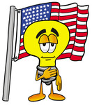 Clip Art Graphic of a Yellow Electric Lightbulb Cartoon Character Pledging Allegiance to an American Flag