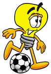 Clip Art Graphic of a Yellow Electric Lightbulb Cartoon Character Kicking a Soccer Ball