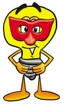 Clip Art Graphic of a Yellow Electric Lightbulb Cartoon Character Wearing a Red Mask Over His Face