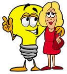 Clip Art Graphic of a Yellow Electric Lightbulb Cartoon Character Talking to a Pretty Blond Woman