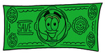 Clip Art Graphic of a Yellow Electric Lightbulb Cartoon Character on a Dollar Bill