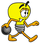 Clip Art Graphic of a Yellow Electric Lightbulb Cartoon Character Holding a Bowling Ball