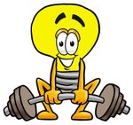 Clip Art Graphic of a Yellow Electric Lightbulb Cartoon Character Lifting a Heavy Barbell