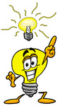 Clip Art Graphic of a Yellow Electric Lightbulb Cartoon Character With a Bright Idea