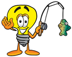 Clip Art Graphic of a Yellow Electric Lightbulb Cartoon Character Holding a Fish on a Fishing Pole