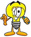 Clip Art Graphic of a Yellow Electric Lightbulb Cartoon Character Looking Through a Magnifying Glass