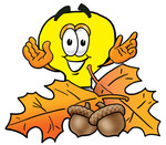 Clip Art Graphic of a Yellow Electric Lightbulb Cartoon Character With Autumn Leaves and Acorns in the Fall