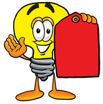 Clip Art Graphic of a Yellow Electric Lightbulb Cartoon Character Holding a Red Sales Price Tag