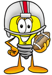 Clip Art Graphic of a Yellow Electric Lightbulb Cartoon Character in a Helmet, Holding a Football