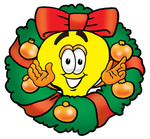 Clip Art Graphic of a Yellow Electric Lightbulb Cartoon Character in the Center of a Christmas Wreath