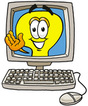 Clip Art Graphic of a Yellow Electric Lightbulb Cartoon Character Waving From Inside a Computer Screen