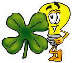 Clip Art Graphic of a Yellow Electric Lightbulb Cartoon Character With a Green Four Leaf Clover on St Paddy's or St Patricks Day
