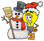 Clip Art Graphic of a Yellow Electric Lightbulb Cartoon Character With a Snowman on Christmas