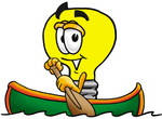 Clip Art Graphic of a Yellow Electric Lightbulb Cartoon Character Rowing a Boat