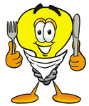 Clip Art Graphic of a Yellow Electric Lightbulb Cartoon Character Holding a Knife and Fork