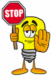 Clip Art Graphic of a Yellow Electric Lightbulb Cartoon Character Holding a Stop Sign