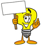 Clip Art Graphic of a Yellow Electric Lightbulb Cartoon Character Holding a Blank Sign
