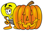 Clip Art Graphic of a Yellow Electric Lightbulb Cartoon Character With a Carved Halloween Pumpkin