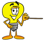 Clip Art Graphic of a Yellow Electric Lightbulb Cartoon Character Holding a Pointer Stick