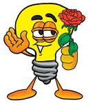 Clip Art Graphic of a Yellow Electric Lightbulb Cartoon Character Holding a Red Rose on Valentines Day