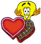 Clip Art Graphic of a Yellow Electric Lightbulb Cartoon Character With an Open Box of Valentines Day Chocolate Candies