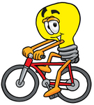 Clip Art Graphic of a Yellow Electric Lightbulb Cartoon Character Riding a Bicycle