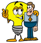 Clip Art Graphic of a Yellow Electric Lightbulb Cartoon Character Talking to a Business Man