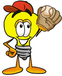 Clip Art Graphic of a Yellow Electric Lightbulb Cartoon Character Catching a Baseball With a Glove