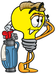 Clip Art Graphic of a Yellow Electric Lightbulb Cartoon Character Swinging His Golf Club While Golfing