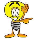 Clip Art Graphic of a Yellow Electric Lightbulb Cartoon Character Waving and Pointing