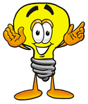 Clip Art Graphic of a Yellow Electric Lightbulb Cartoon Character With Welcoming Open Arms