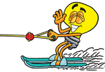 Clip Art Graphic of a Yellow Electric Lightbulb Cartoon Character Waving While Water Skiing