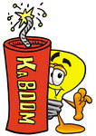 Clip Art Graphic of a Yellow Electric Lightbulb Cartoon Character Standing With a Lit Stick of Dynamite