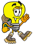 Clip Art Graphic of a Yellow Electric Lightbulb Cartoon Character Hiking and Carrying a Backpack