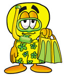Clip Art Graphic of a Yellow Electric Lightbulb Cartoon Character in Green and Yellow Snorkel Gear