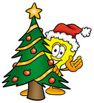 Clip Art Graphic of a Yellow Electric Lightbulb Cartoon Character Waving and Standing by a Decorated Christmas Tree