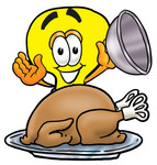 Clip Art Graphic of a Yellow Electric Lightbulb Cartoon Character Serving a Thanksgiving Turkey on a Platter