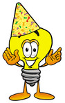 Clip Art Graphic of a Yellow Electric Lightbulb Cartoon Character Wearing a Birthday Party Hat